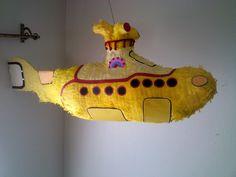 The Beatles yellow submarine pinata.
