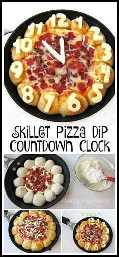 Ring in the New Year's by serving this cheesy Skillet Pizza Dip Countdown Clock loaded with pepperoni and bacon. The triple cheese dip is surrounded by 12 cheese filled pizza puffs each decorated with a number on a clock.
