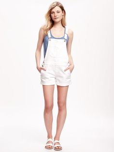 White Denim Shortalls for Women Product Image