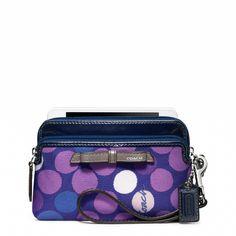 526b0450db Coach    POPPY DOUBLE ZIP WRISTLET IN WATERCOLOR DOT PRINT FABRIC Coach  Handbags Outlet