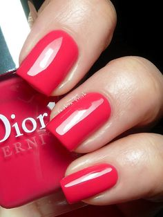 'Lucky' is a ' pink with a strong coral undertone. From the Extreme Addict collection for Summer 2012 Dior Nail Polish, Dior Nails, Nail Polish Colors, Beautiful Nail Art, Gorgeous Nails, Love Nails, My Nails, Bodycon Dress With Sleeves, Pretty Hands