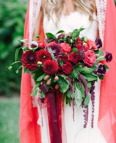 Stunning Red Bridal Bouquet Photography by @joielala