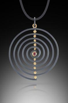 Spiral Pendant: Ilene Schwartz: Gold, Silver, & Stone Necklace