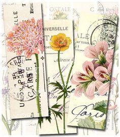 Vintage Botanical Flowers on Vintage Postcards - 1x3 inches rectangles - Digital…