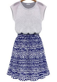 Blue Sleeveless Geometric Print Midi Dress 18.50