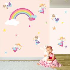 Fairy Wall Decal, Fairy Princess and Rainbow Nursery Wall Art Stickers - pinned by pin4etsy.com
