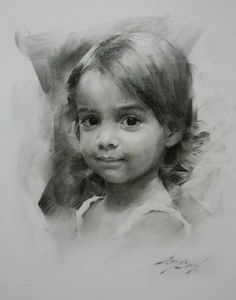 little girl, charcoal drawing, Casey Baugh - Portrait - Portrait Sketches, Pencil Portrait, Portrait Art, Drawing Sketches, Pencil Drawings, Art Drawings, Drawing Ideas, Female Portrait, Pencil Art