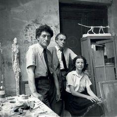 Alberto Giacometti, Diego Giacometti and Annette Arm by Alexander Liberman, 1950s