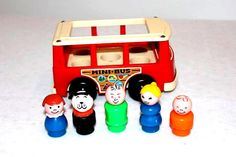 Vintage Fisher Price Red Little People Mini Bus with by Barostores