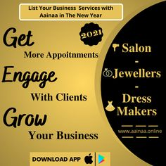𝑵𝒆𝒘 𝒀𝒆𝒂𝒓 - 𝑵𝒆𝒘 𝑺𝒕𝒂𝒓𝒕 Get your Salon Shop💇, Dress Making👗 and Jewellery💍 business in front of the people - Let client's 𝙗𝙤𝙤𝙠 𝙖𝙥𝙥𝙤𝙞𝙣𝙩𝙢𝙚𝙣𝙩 with you and avail your business services. List your business services in this 𝐍𝐞𝐰 𝐘𝐞𝐚𝐫 𝟐𝟎𝟐𝟏🌟✨🎉🎊 with Aainaa App.