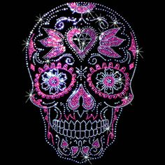 Sugar Skulls Rhinestone/Rhinestud t-shirts. $25.00.  As easy as 1…2….3… 1. Pick a design & shirt style (long-, short-sleeves, & color) 2. Tell us where to print it (front or back) 3. You enjoy it!  Click here for more Skull prints; http://www.909threads.com/Sugar-Skulls-p/15468.htm.