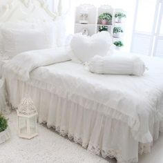 shabby chic beds lace and shabby on pinterest. Black Bedroom Furniture Sets. Home Design Ideas