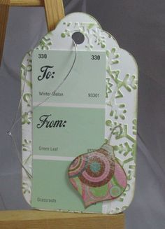 Christmas gift tags made with paint chip sample cards! Fun, easy and colorful!