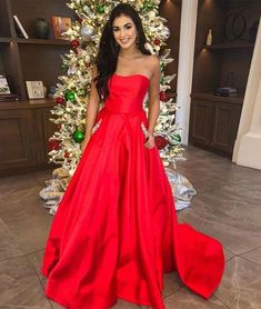 3758f06faee 13 Best Red satin prom dress images