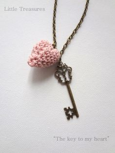 The Key to My Heart Necklace - miniature crocheted necklace, bohemian necklace, key and heart Love Crochet, Crochet Motif, Crochet Shawl, Knit Crochet, Crochet Things, Crochet Ideas, Key To My Heart, Textile Jewelry, Bohemian Necklace