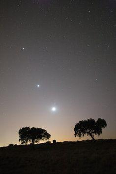 Moon - Jupiter - Venus  conjunction