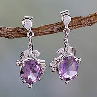 Amethyst dangle earrings, 'Wisteria Bloom' - Handcrafted Amethyst and Sterling Silver Earrings