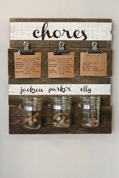chores: diy chore chart I like being able to change chore cards. Chore Rewards, Chore List, Kids Rewards, Diy Hacks, Chore Jar, Do It Yourself Inspiration, Creative Inspiration, Style Inspiration, Chore Chart Kids