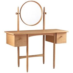 Vanity Table in Oak by Sven Engström and Gunnar Myrstrand, 1960s | From a unique collection of antique and modern vanities at https://www.1stdibs.com/furniture/tables/vanities/