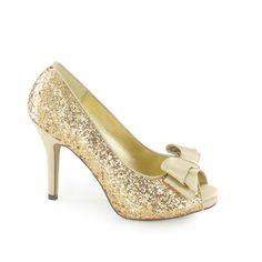 Zapatos glitter para novia: modelo Destrote en dorado de Sissei en Ulanka