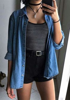 Necklace, flannel, stripped top & shorts by variousxvibes cool summer outfits, flannel outfits Black Shorts Outfit Summer, Cute Outfits With Shorts, Cool Summer Outfits, Casual Outfits, Rock Outfits, Flannel Outfits Summer, Casual Wear, Emo Outfits, High Waisted Shorts Outfits With