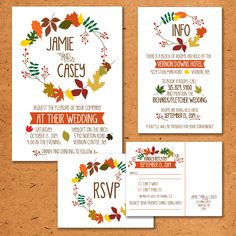 Fall Wedding Invitation Set with Rustic Leaf by TheInvitationOven