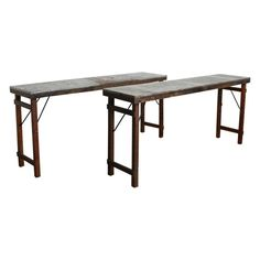 One World Interiors Console Eettafel 170 x 76 cm - Zink/Hout Wooden Table Top, Wooden Tops, Market Table, Planter Table, Furniture Care, Hazelwood Home, Rustic Industrial, Interior Decorating, India