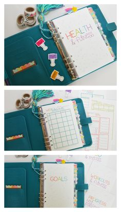Printable Health & Fitness planner in A5 + half letter size- perfect for Filofax A5, kikki.K large, carpe diem, color crush, etc... includes 15 pages including a cover page & FOUR divider to organize your planner! https://www.etsy.com/listing/189692251/a5-budget-inserts-printable-a5-inserts?ref=shop_home_feat_3