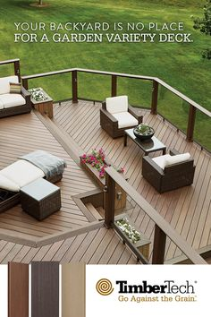 The look of real wood for a really amazing outdoor living space. The look of real wood for a really amazing outdoor living space. Backyard Patio Designs, Backyard Landscaping, Pergola Patio, Patio Ideas, Landscaping Ideas, House Deck, Decks And Porches, Building A Deck, Building Plans