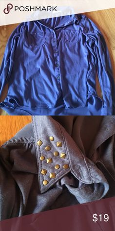 Blue long sleeve shirt Button down shirt with sheer back and studs on the collar Kohls Shirts & Tops Blouses