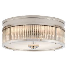 Ralph Lauren Allen Small Flush Mount - Polished Nickel and Glass Rods with White Glass