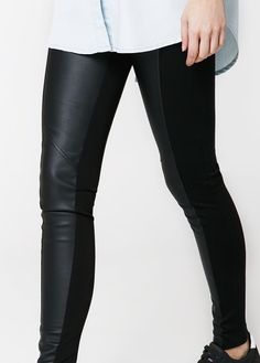 Leggings with faux leather panel and elastic waist. Faux Leather Leggings, Leather Pants, Trouser Outfits, Manga, Fashion Outlet, Women's Leggings, Elastic Waist, Black Jeans, Trousers