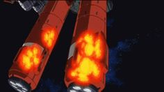「機動戦士ガンダムUC」  ep.7 20150102150157  おそらく橋本敬史作画。表面のディテールが細かい。楕円形のディテールが細部まで盛り込まれており、爆発の広がり方もじんわりと動きにタメがあって、良い。2カット目の煙も、温度が下がっていくのが分かるし(濃い灰色から普通の灰色へ)、煙から登場する所のスッとした感じ(タイミングの巧さ)が素晴らしい。