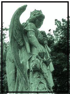 Green Angel on a headstone at Wyuka Cemetery in Lincoln, Nebraska.