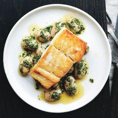 The halibut is brined briefly in salt water, which seasons it all the way through.