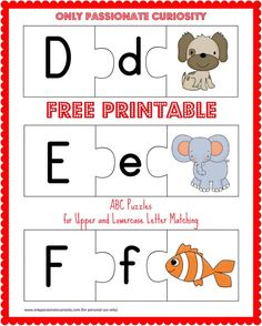 Printable ABC Puzzles Free printable ABC puzzles- upper and lowercase letter matching!Free printable ABC puzzles- upper and lowercase letter matching! Learning Letters, Alphabet Activities, Literacy Activities, Preschool Alphabet, Alphabet Crafts, Teaching Resources, Upper And Lowercase Letters, Lower Case Letters, Kindergarten Literacy