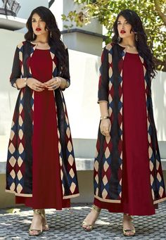Magenta Cotton Readymade Kurti With Jacket 160205 New Kurti Designs, Kurta Designs Women, Kurti Designs Party Wear, Indian Dresses, Indian Outfits, Kurti With Jacket, Jacket Style Kurti, Indian Designer Outfits, Mode Hijab