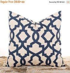 SALE ENDS SOON Navy Pillows Lattice Indigo Pillow di LilyPillow