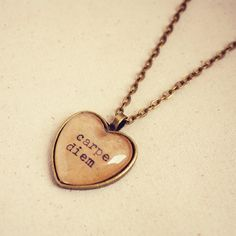 "Handmade ""Carpe Diem"" Heart Necklace"
