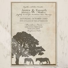 Rustic Country Horse Farm Wedding Invitation (10pk) - The Painting Pony