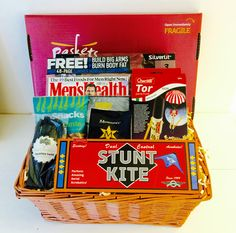 Airborne Antics, boys toys gift basket with stunt kite and parachute Gift Baskets For Him, Gifts For Him, Cool Gifts, Best Gifts, Stunt Kite, Montezuma, Gift Hampers, Stunts, Entertaining