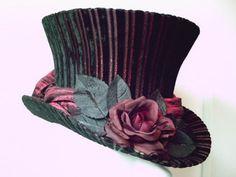 Top Hat Black/Red Stripe Victorian Goth Vampire