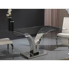Modern V shaped base glass dining table Glass Round Dining Table, Luxury Dining Tables, Glass Table, Iron Furniture, Unique Furniture, Furniture Design, Sofa Table Design, Coffee Table Design, Table Inox