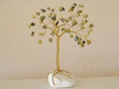 Wire Tree Sculpture, White Pebbles, Wire Trees, Handmade Wire, October Birth Stone, Wire Jewelry, Turquoise, Gemstones, Yellow