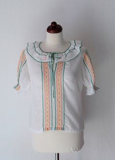 Vintage 1970's Blouse White Embroidered by PaperdollVintageShop