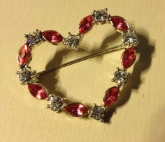 Heart Shaped Pin Brooch With Pink and Clear by vintagerepublic1, $16.00