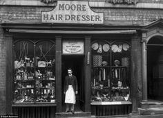 Moore's Hairdresser & Fancy Repository, fans/hair pieces. In the town of Shrewsbury, Shropshire, 125 years ago in 1888. The pictures were taken in Shropshire by Joseph Lewis della-Porta, a 25-year-old skilled photographer, whose family ran one of the UK's first department stores.Joseph Lewis' camera would have been large and heavy with a long exposure time. He would have had to persuade his subjects to stay very still for quite some time, He was a member of Shropshire Photographic Society.