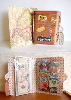 Card made as a suitcase, with money folded as shirts inside! Wedding gift for NY-honeymoon. Ingrid Riddervold.