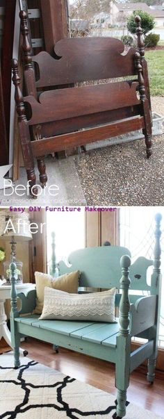 25 Awesome DIY Furniture Makeover Ideas:Creative Ways To Repurpose Old Furniture With Tutorials Funiture Makeovers: Headboard Repurposed Into A Bench. Cheap Furniture Makeover, Diy Furniture Easy, Diy Furniture Projects, Refurbished Furniture, Repurposed Furniture, Furniture Plans, Cool Furniture, Bedroom Furniture, Painting Furniture