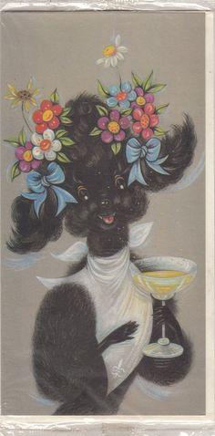 Vintage Happy Birthday Black Poodle Greeting Card & Envelope by Royle in   eBay